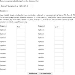 Tangkapan layar kalkulator margin taruhan